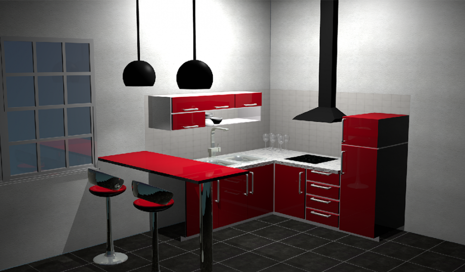 mod lisation d une cuisine en 3d anne milie pr vot. Black Bedroom Furniture Sets. Home Design Ideas